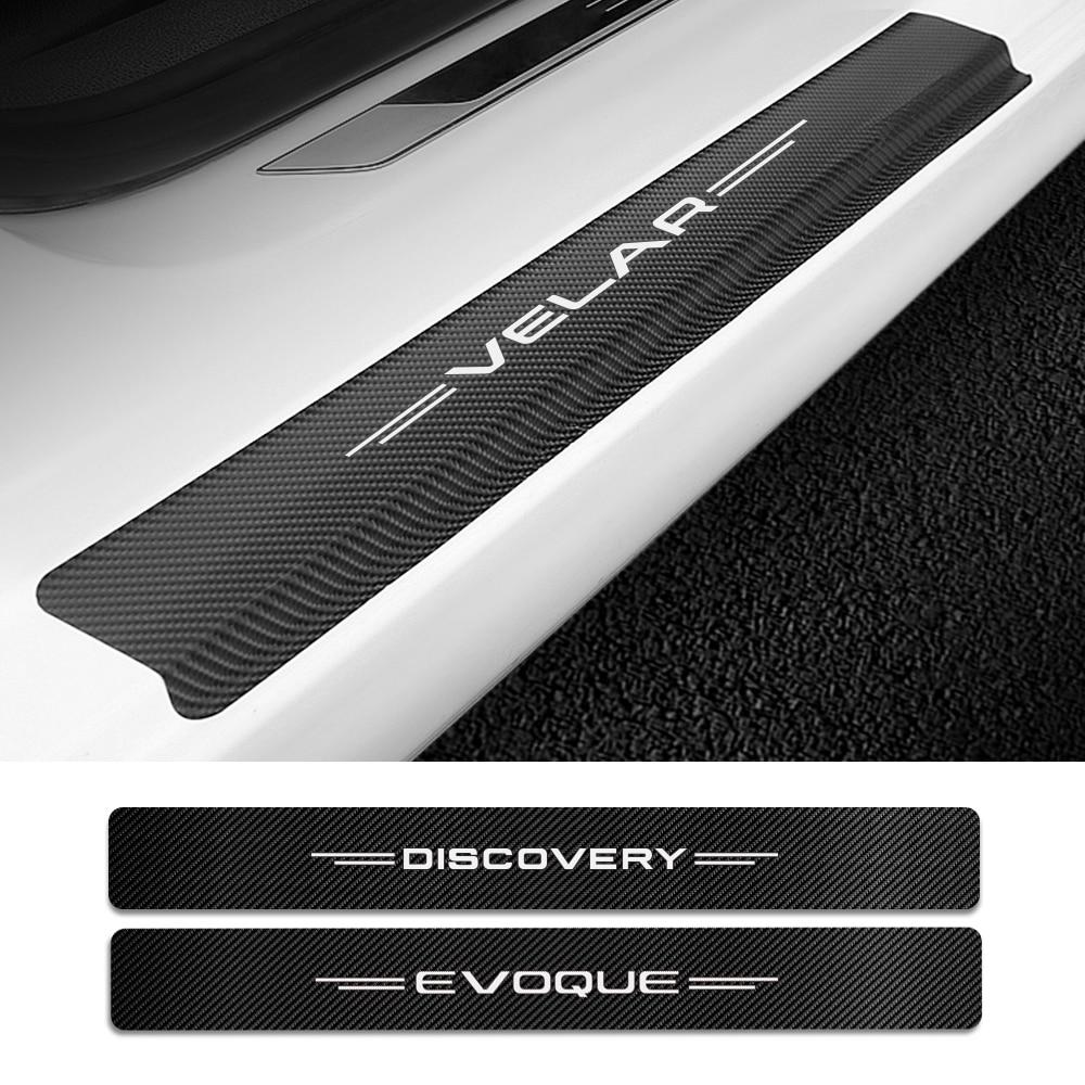 Cubierta de placa de alféizar para coche Land Rover Discovery 3, 4, 2, Freelander 2, 1, Evoque Velar, accesorios de fibra de carbono, pegatina, 4 Uds.
