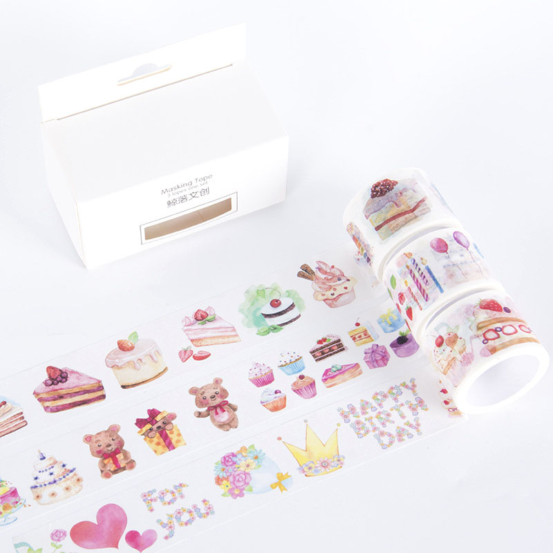 3 Pcs/pack Birthday Cake Bullet Journal Washi Tape Cute Adhesive Tape DIY Scrapbooking Stickers Stationery Label Masking Tapes