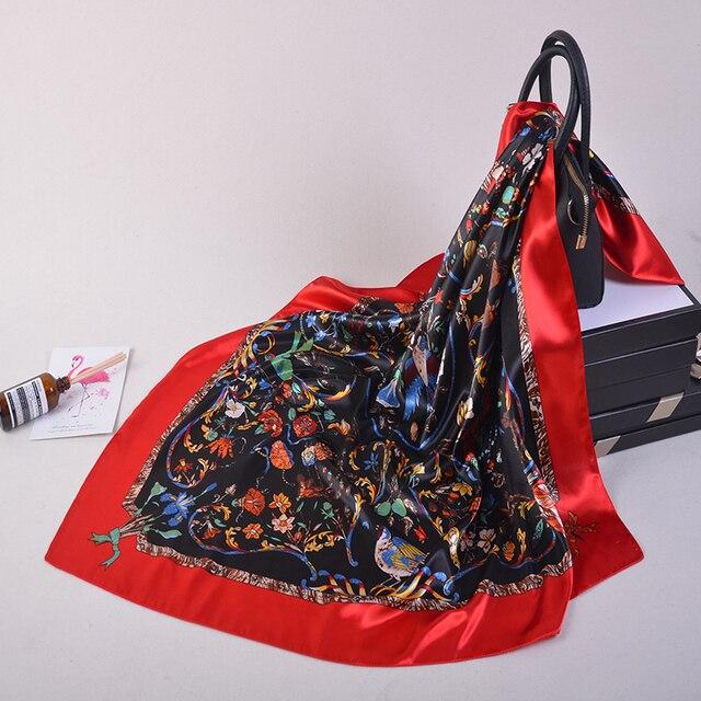 Silk Scarves Women Foulard 90*90cm Square head scarf Ladies Shawl wrap muffler pareo Bandanna female chiffon hijab poncho wool 4