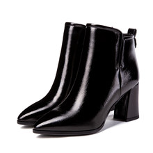 2018 Autumn Winter New Fashion Boots Women High Heels Side Zipper Ankle Warm Plush Shoes Martin Boots Women Plus Size 33-40(China)