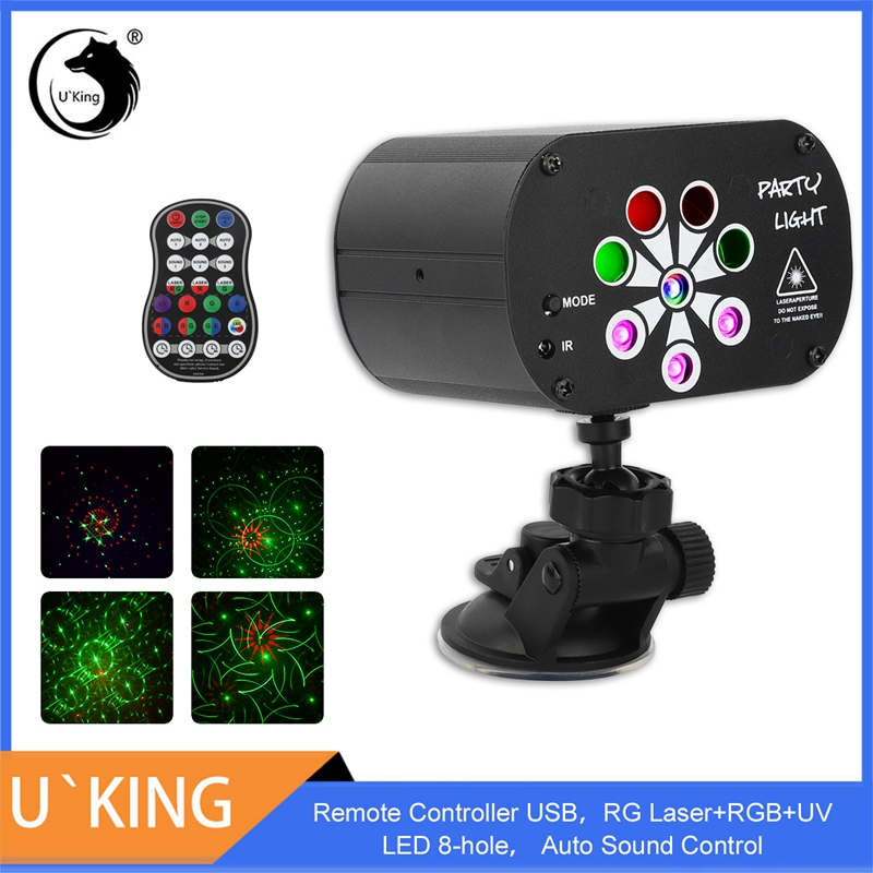 Uking king controle remoto usb efeito de iluminação de palco rg laser + rgb + uv led 8-hole com controle de som automático para dj club party mostrar