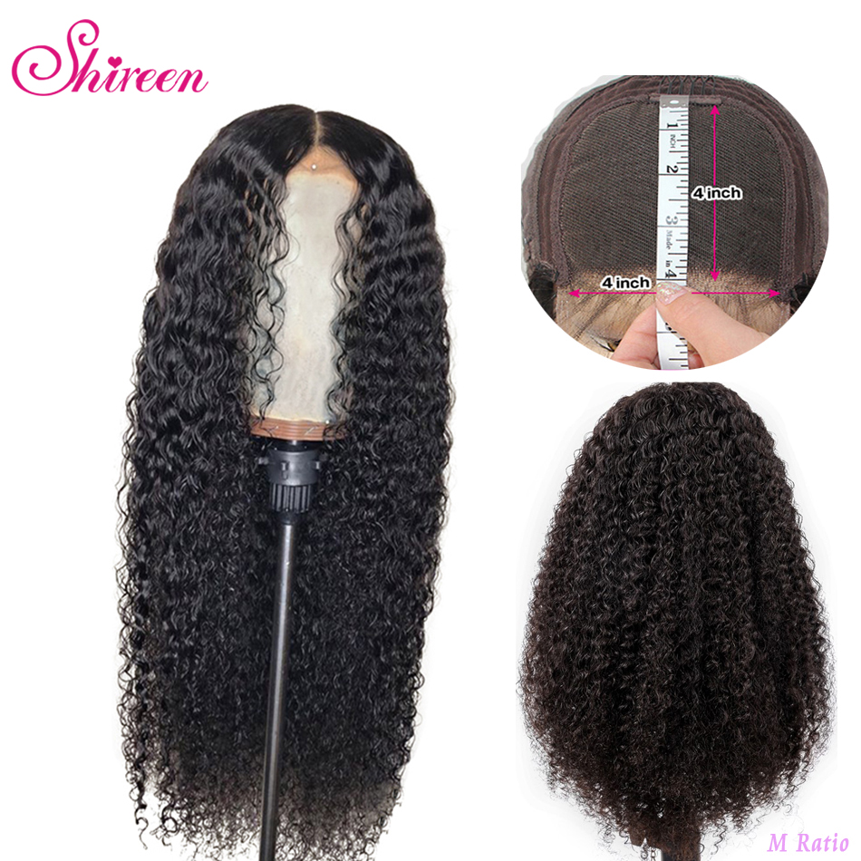 Shireen 4X4 Lace Closure Wig With Baby Hair Pre Plucked Malaysia Afro Kinky Curly Human Hair Wigs For Black Women 150% Density