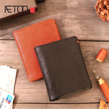 AETOO Leather wallet men's short paragraph soft section handmade men's wallet women's youth first layer leather retro slim walle aetoo original retro wrinkled leather vertical wallet men s short paragraph the first layer of leather wallet zipper small card