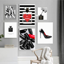 Fashion Sexy Girl Lips Black High Heels Wall Art Canvas Painting Nordic Posters And Prints Wall Pictures For Living Room Decor(China)