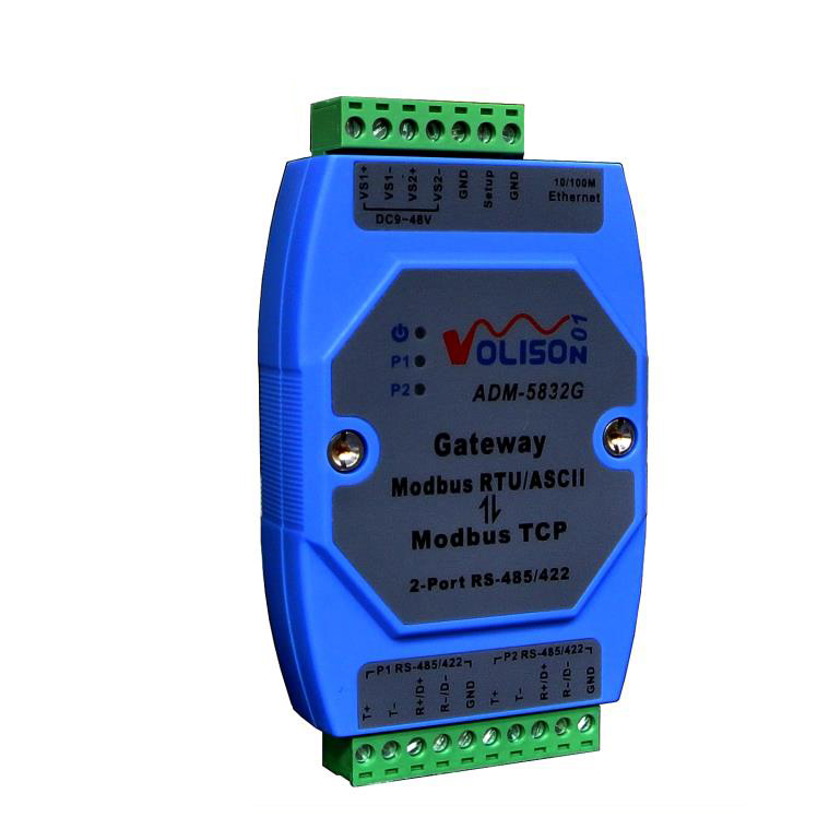 ADM-5832G Industrial 2-Port Modbus Gateway Server, Rs485/422 MODBUS RTU/ASCII To Modbus TCP, Support PLC Serial Port