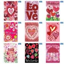 Creative Design Decorative Heart Love Red Pink Valentine Day Garden Flag Fiery Pattern 1 Piece