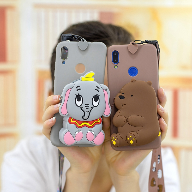 3D <font><b>Silicone</b></font> Cartoon Phone <font><b>Case</b></font> for <font><b>Huawei</b></font> <font><b>Y6</b></font> Y7 Y9 2019 Cute Panda Bear Wallet Bag Back Cover for <font><b>Huawei</b></font> Y5 <font><b>Y6</b></font> <font><b>2018</b></font> Coque Fundas image