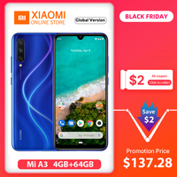 Global Version Xiaomi Mi A3 4GB 64GB Smartphone CC 9e Snapdragon 665 Octa Core 6.088 AMOLED Screen 48MP + 32MP Camera 4030mAh