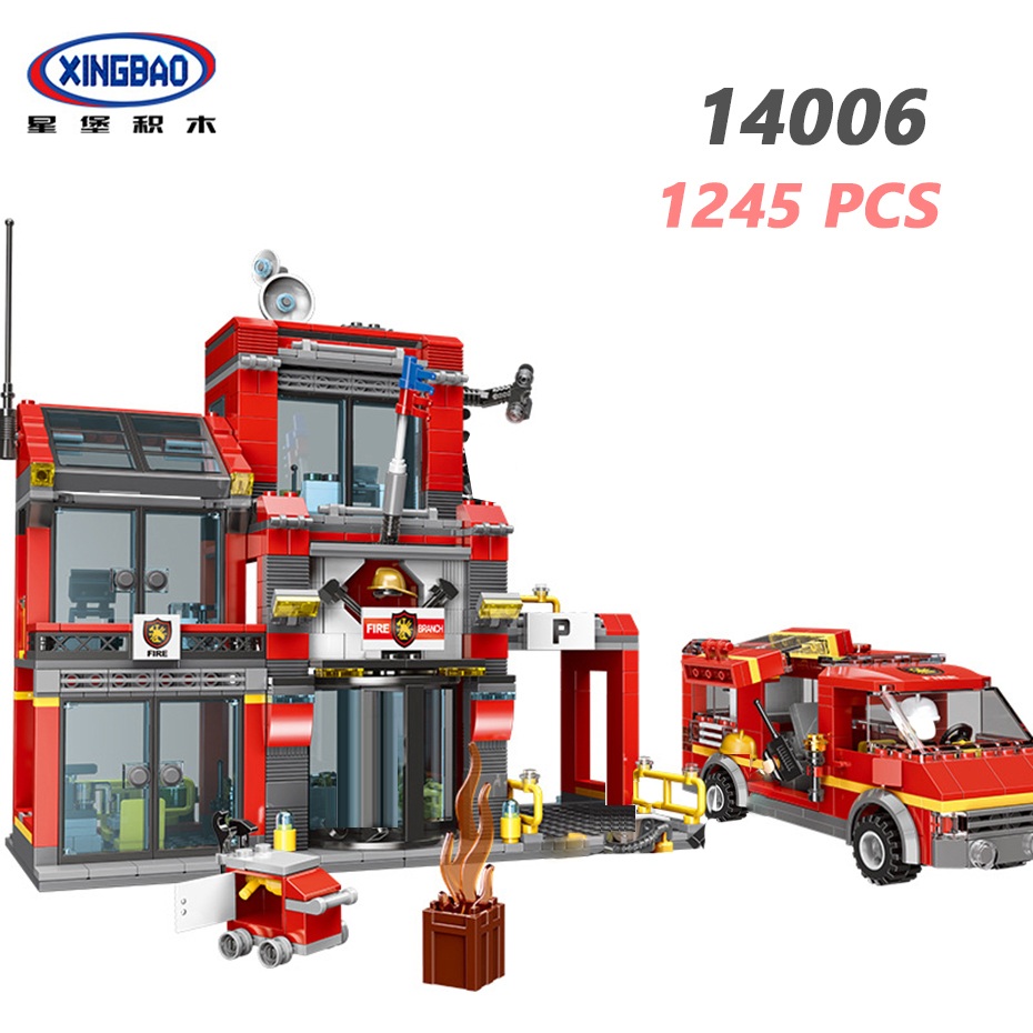 XINGBAO 14006 City Firefighting Series 1245PCS The Fire Squadron Set Building Blocks Fire Fighting Truck Model Bricks Kids Toys in Blocks from Toys Hobbies