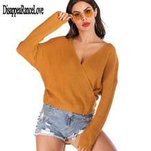 Autumn And Winter Sweaters tops Loose Slim Sweater pullover 2019 Casual solid Fashion White Long Sleeve V-neck Women Clothing цена и фото