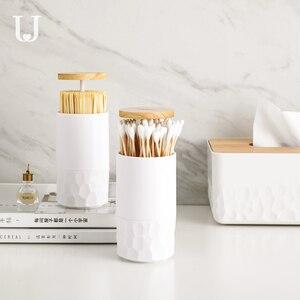 Image 2 - Original Zahnstocher box hause wohnzimmer presse automatische einfache baumwolle tupfer box baumwolle tupfer barrel lagerung box auf lager