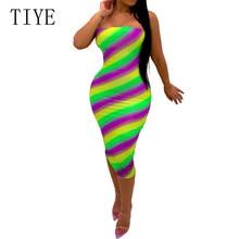 TIYE Sexy Off Shoulder Strapless Colorful Stripes Pencil Dress Elegant Bodycon Bandage Vintage Printed Summer Women Clothing