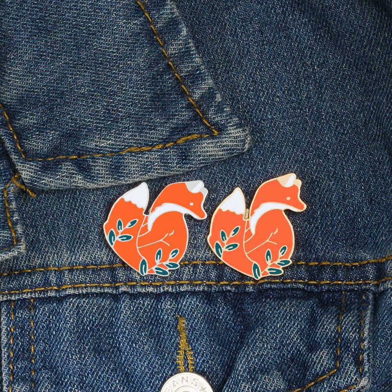 Animal Broches Cartoon Gold Sliver Fox Emaille Pins Leuke Woodland Vossen Badges Kleding Revers Pin Sieraden Geschenken voor Kinderen Meisjes