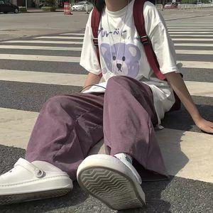 HOUZHOU Purple Corduroy Pants Women Korean Style Fashion Wide Leg Pants Casual Palazzo Pants Straight Trousers Women high waist