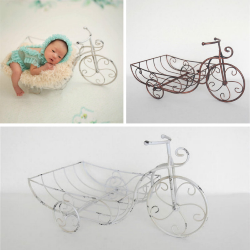Newborn Photography Props Metal Mini Cart Posing Container Baby Photo Tricycle Infant Photo Shoot Creative Props Novelty Props