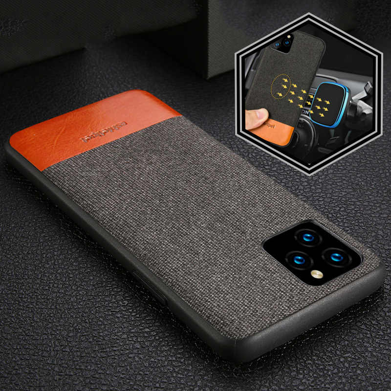 Mannen Business Stof Magnetische Case Voor Iphone 11 Pro Max Shockproof Auto Houder Case Cover Voor Iphone 11 Pro Max 6.5 Canvas coque