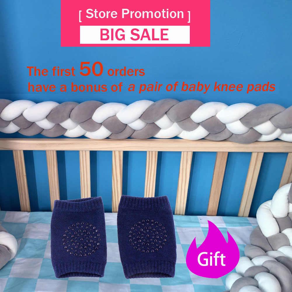 2M Comprimento 4 Tranças Bebê Bumper Cama Almofada Travesseiro Cama de Bebê Decor Pure Weaving Plush Nó Crib Bumper Protector infantil Room Decor