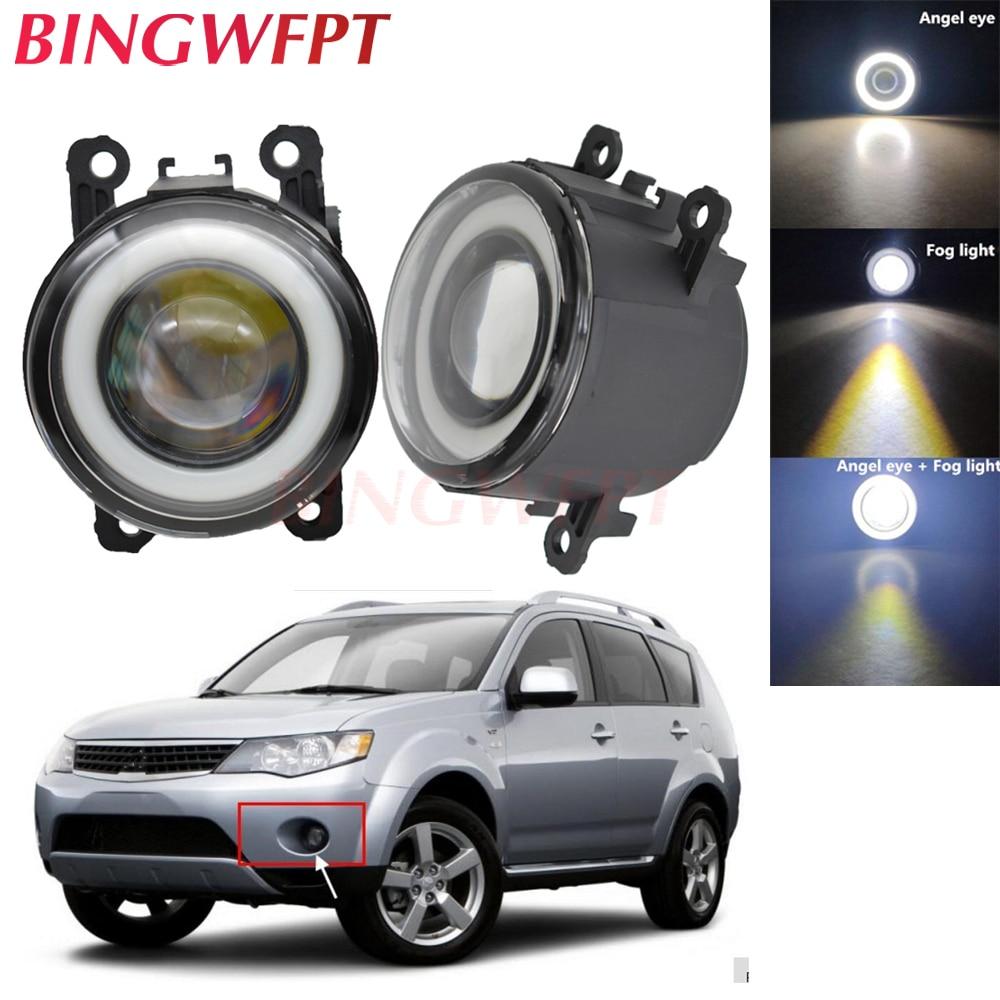 2pcs NEW Car Styling Angel Eyes Front Bumper LED Fog Lights With Len For Mitsubishi Outlander XL 2007-2013