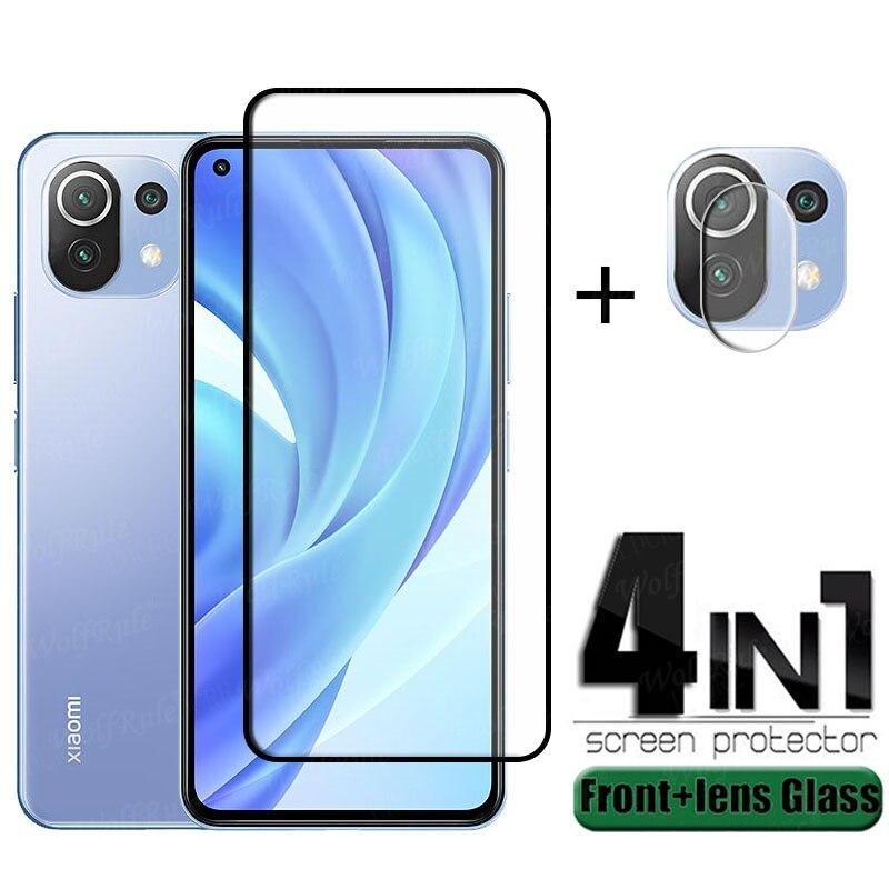 4 в 1 для Xiaomi Mi 11 Lite стекло для Mi 11 Lite защитное стекло полное клеевое покрытие HD Защита экрана для Mi 11 Lite стекло для объектива
