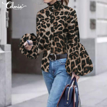 Plus Size Tops Celmia Women High Neck Lantern Sleeve Fashion Blouse Long Sleeve Leopard Print