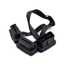 VSTM плоский + тонкий 16 Pin OBD 2 удлинитель OBD2 16 Pin ELM327 Штекерный к двойному гнезду Y сплиттер локоть OBDII Удлинительный кабель