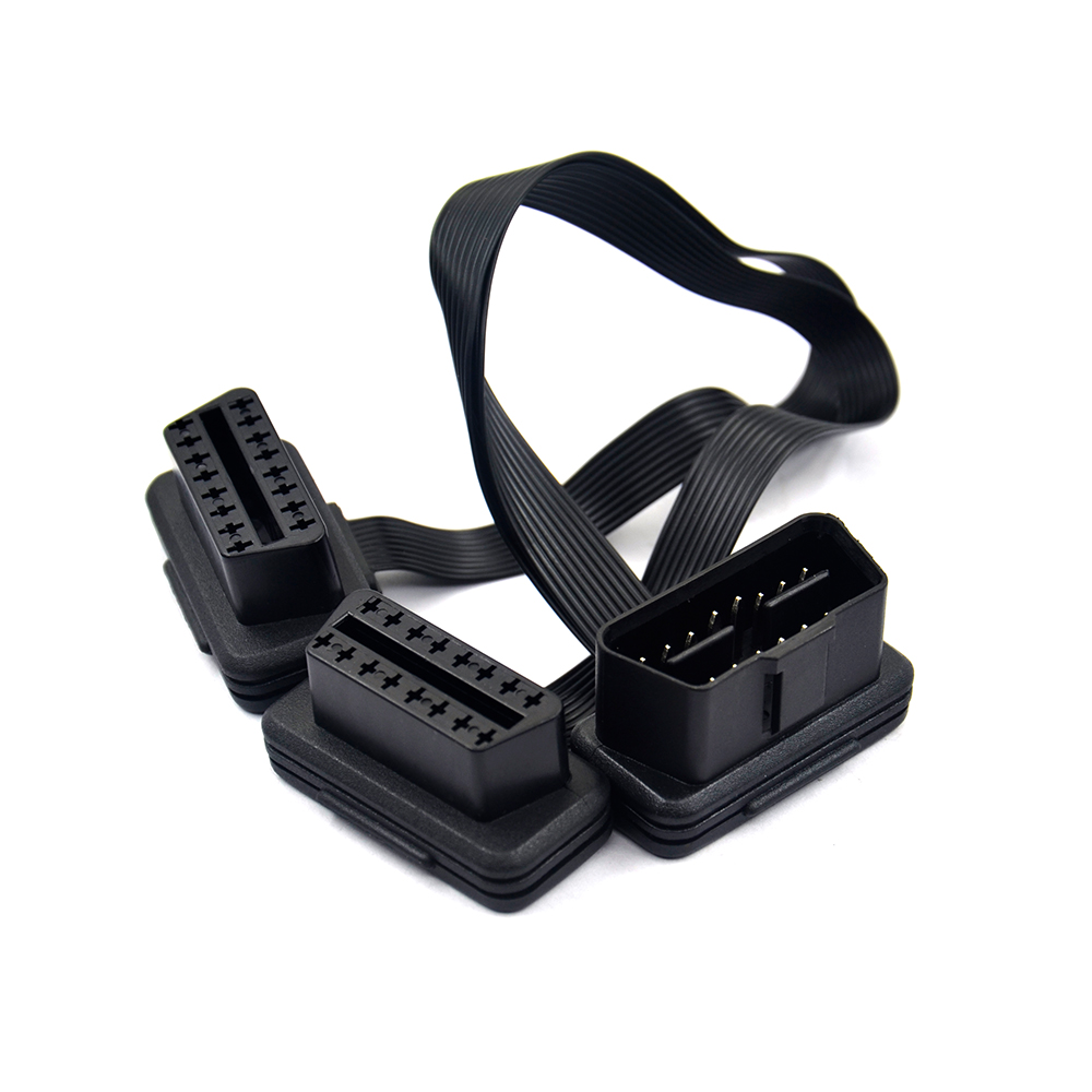 VSTM Flat+Thin 16Pin OBD 2 Extender OBD2 16 Pin ELM327 Male To Dual Female Y Splitter Elbow OBDII Extension Connector Cable