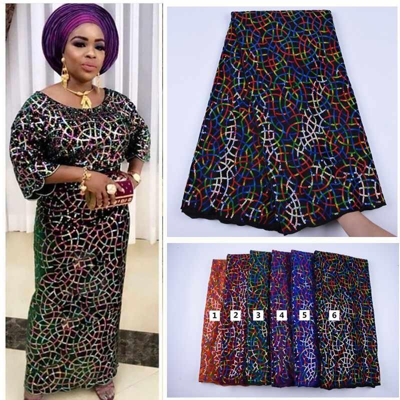 2019 ออกแบบใหม่กำมะหยี่ Sequins แอฟริกันภาษาฝรั่งเศสคำกำมะหยี่ผ้าลูกไม้คุณภาพสูงไนจีเรียกำมะหยี่ลูกไม้ผ้าสำหรับเสื้อผ้า A1693