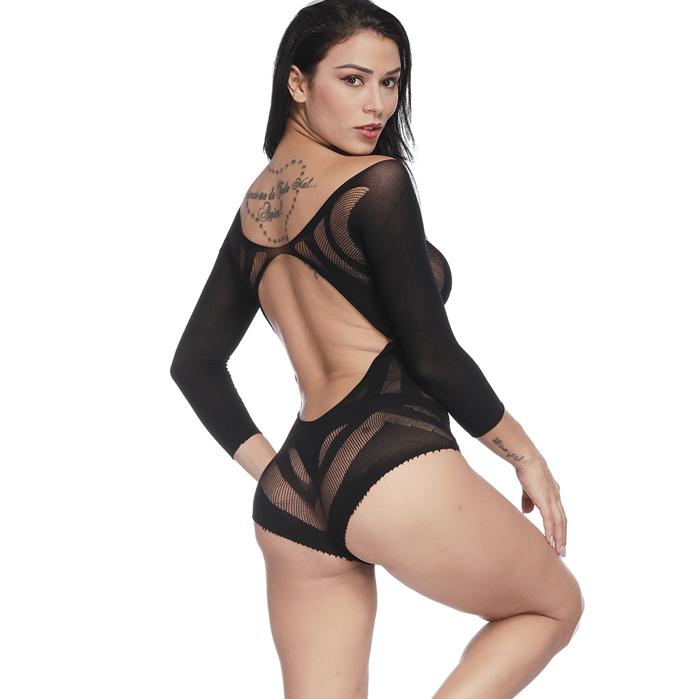 Sexy Bodysuits Black Mesh Transparent Jumpsuit Backless Long Sleeve Glitter V neck Women's Fashion Porn Party Night Clubwear