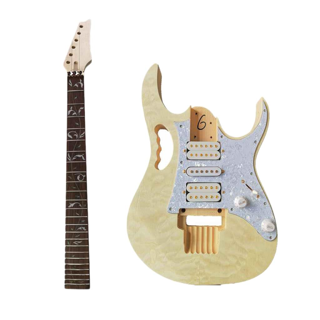 DIY Electric Guitar Kit Water Ripple Veneer Hard Maple Neck Guitar Parts Set