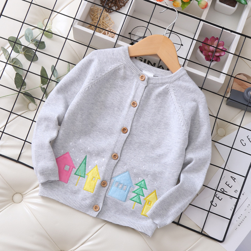 Ktp-w19323 New Style Childrenswear Kids' Sweater Tree House Applique Crew Neck GIRL'S Cardigan 2019 Autumn New Style