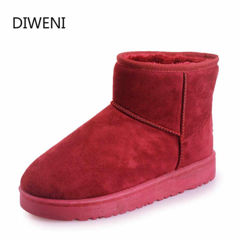 DIWEINI Yüksek Kalite Avustralya Marka Kış Kadın Kar Botları Inek Bölünmüş Deri Ayak Bileği Ayakkabı Kadın Botas Mujer Büyük N249