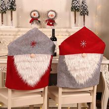 Party Christmas Decoration Santa Claus Table Red Hat Decor Dinner Chair Cover christmas decorations for home(China)