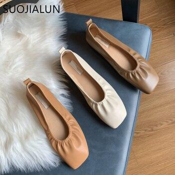 цена на SUOJIALUN Autumn Women Flats Shoes Ballet Flat Slip On Casual Loafers High Quality Soft Women Square Toe Ballerina