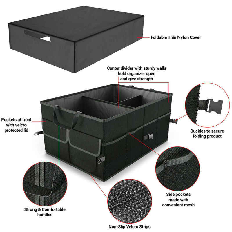Greetuny 1X Organizador Maletero Coche Profesional Plegable Caja Almacenamiento con Tapa Multifuncional Viajes Cochera Bolsa de Almacenamiento