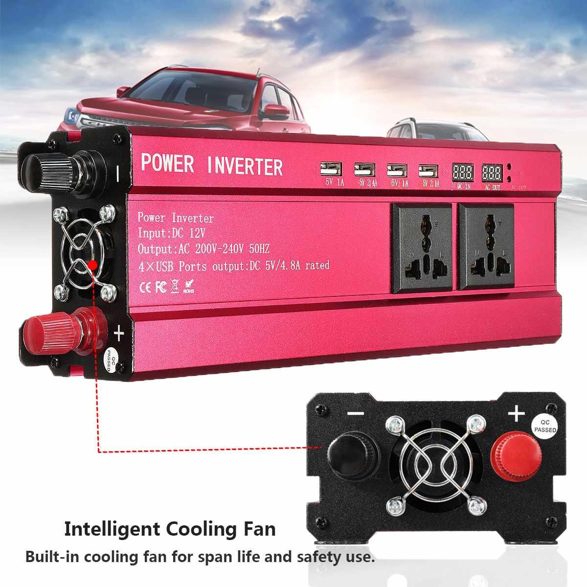 KROAK voiture onduleur DC 12V à AC 200-240V 8000W tension convertisseur de puissance affichage numérique onde sinusoïdale modifiée 4 Port USB 3 prise AC