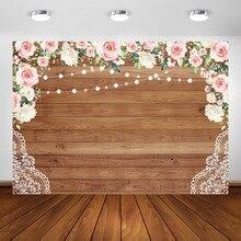 Wieczór panieński tło dla fotografii dekoracje na przyjęcie urodzinowe tło rustykalne kwiaty ślubne ściana z drewna foto budka tła
