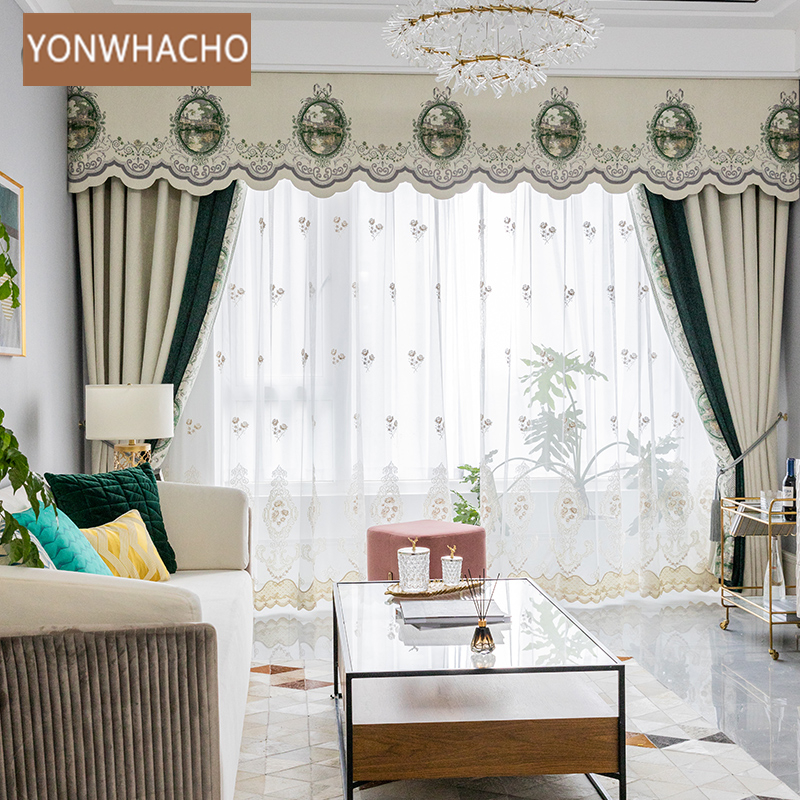 Custom curtains Luxury seamless stitching European Cashmere chenille white cloth blackout curtain tulle valance drape B842