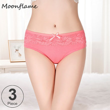 Moonflme 3 pcs/lots Underwear Women Cotton Panties  M L XL 86847