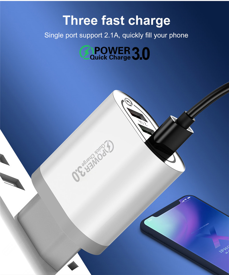USLION Quick Charge 3.0 USB Phone Charger For Samsung S8 S9 Xiaomi mi 8 Huawei Fast Wall Charging For iPhone 6 7 8 X XS Max iPad H95b08f6db17d4f1e90e4cbe30972bbceX