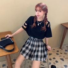 2020 New Summer Cutout off-Shoulder All-match Short-Sleeved T-shirt Academic Style High Waist Plaid Pleated Skirt  Women jk
