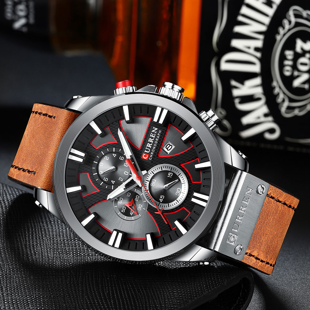 H95b091a98776486f9527c1bb466a4f24w CURREN Big Dial Men's Watch Chronograph Sport Men Watches Design Creative With Dates Male Wristwatch Mens Stainless Steel