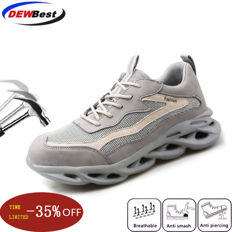 Safety Shoes Fashion Sports Breathable Ultra Light Protective Shoes Anti-smashing Anti-stab Industrial Steel-head Work Shoes
