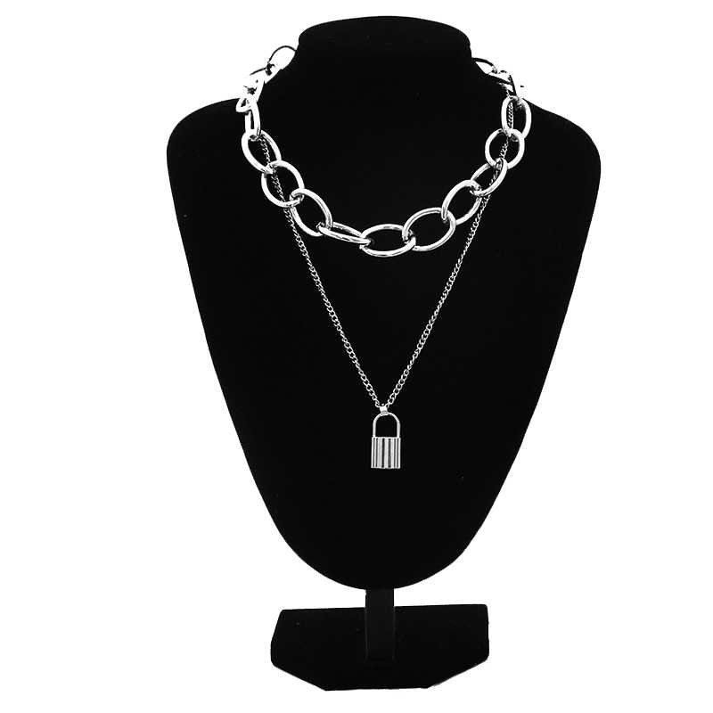2019 Gothic masywny łańcuch Choker naszyjnik Punk rock komunikat naszyjnik kobiety goth biżuteria Vintage collier femme biżuteria
