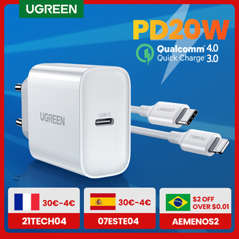 UGREEN Quick Charge 4.0 3.0 QC PD Charger 20W QC4.0 QC3.0 USB Type C Fast Charger for iPhone 12 X Xs 8 Xiaomi Phone PD Charger 1