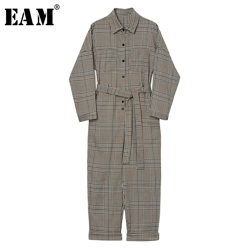 [EAM] Loose Fit Plaid Split Joint Long Women Jumpsuit New High Waist Pocket Stitch  Pants Fashion Tide Spring Autumn 2019 1B490