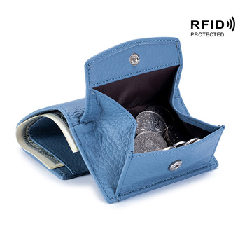 Rfid Genuine Leather Women Female Wallets Mini  Coin Purse Men Small Money Bags Lady Pouch Card Holder Luxury Clutch Bag - discount item  53% OFF Wallets & Holders