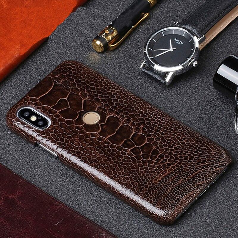 Original En Cuir étui de téléphone pour xiaomi mi 9T PRO 9se mi x2S max 3 en cuir Véritable d'autruche funda pour Rouge mi Note 7 7a 4X5 6a