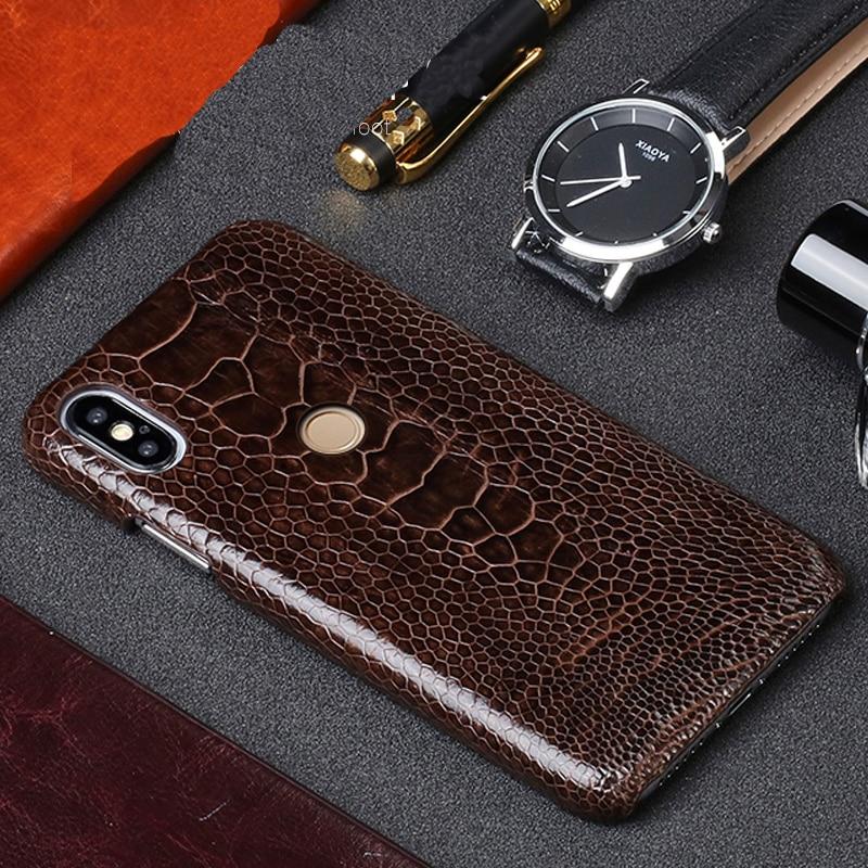 Original Leather Phone case For Xiaomi Mi 9T PRO 9se Mix2S max 3 Genuine leather ostrich leg funda for Redmi Note 7 7a 4X 5 6a