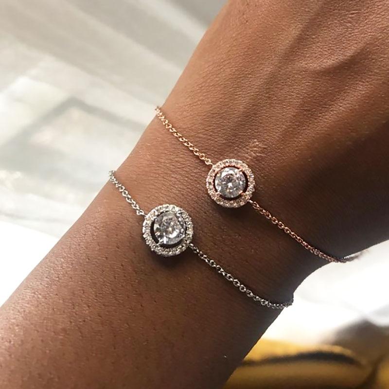 Elegant Fashion Rose Gold Plated Austrian Rhinestone Round Link Circle Bracelet