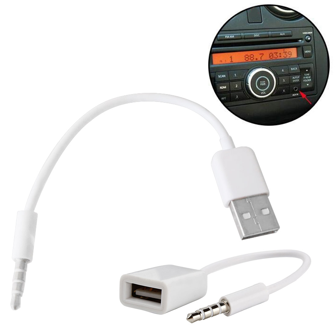 3.5mm Male Audio Plug Jack To USB 2.0 Female Converter Cable Headphone Cable  Adapter Charger Cables Hot For Car MP3